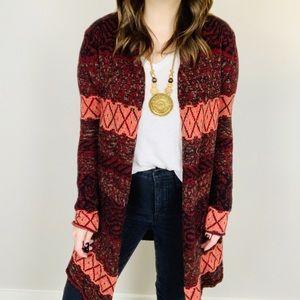F21 Boho Aztec Knit Cardigan M Sweater Tribal Cozy